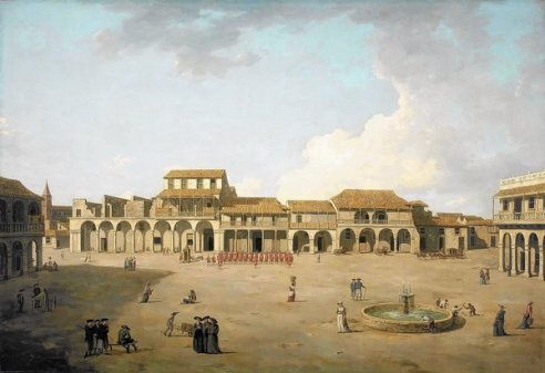 The Piazza at Havana by Dominic Serres the Elder. The Piazza in central Havana in 1762. A depiction of an episode from the last major operation of the Seven Years War, 1756-63. Image in public domain. (Wikimedia Commons)