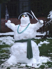 Triumphant pirate snowman